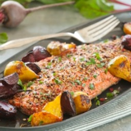 Spice-Crusted Roast Salmon with Ginger Beets