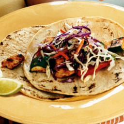 Spice-Rubbed Chicken and Vegetable Tacos with Cilantro Slaw and Chipotle Cr