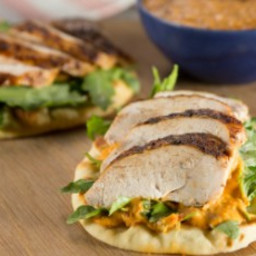 Spice-Rubbed Chicken Breast on Toasted Pita with Piquillo-White Bean Hummus
