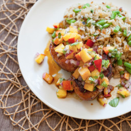 Spice-Rubbed Pork Medallions with Peach Salsa  and Cilantro-Green Bean Rice
