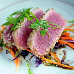 Spice-Rubbed Seared Tuna Steaks With Balsamic Reduction
