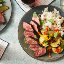 Spice-Rubbed Steaks & Basmati Rice with Summer Squash, Figs, & Garl