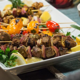 Spiced Beef and Chicken Kabobs with Cucumber Yogurt