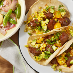 Spiced Beef Tacoswith Corn Salsa and Sugar Snap Pea Salad