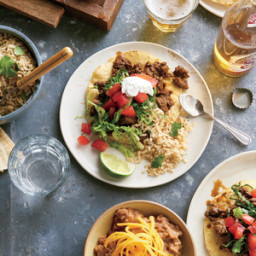 Spiced Beef Tostadas with Cilantro-Lime Rice