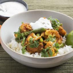 Spiced Cauliflowerwith Jasmine Rice and Cilantro-Yogurt Sauce
