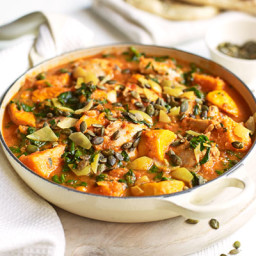 Spiced chicken, spinach and sweet potato stew