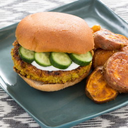 Spiced Chickpea Burgerswith Vadouvan Sweet Potatoes  and  Lemon Yogurt Sauc