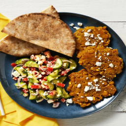 Spiced Chickpea Fritters with Greek Salad, Pita & Garlicky White Sauce