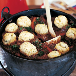 Spiced lamb casserole with thyme dumplings