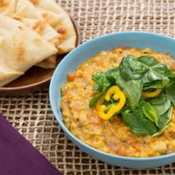 Spiced Lentil Stewwith Summer Vegetables and Toasted Naan