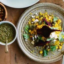 Spiced Millet Pilaf with Beetroot, Feta + Mint