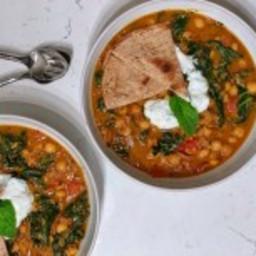 Spiced Moroccan Chickpea Stew with Mint Lemon Yogurt and Pita