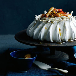 Spiced peach and passionfruit pavlova