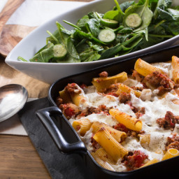 Spiced Pork and Baked Rigatoni Pastawith Fresh Mozzarella and Spinach Salad