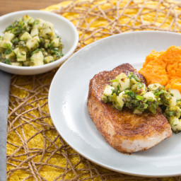 Spiced Pork Chops with Charred Poblano Salsa and Sweet Potato Mash