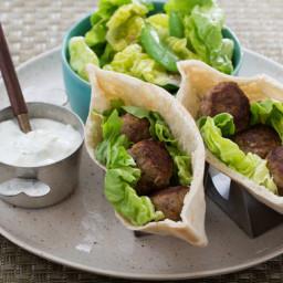 Spiced Turkey Meatball Pitaswith Sugar Snap Pea and Bibb Lettuce Salad