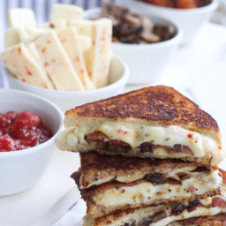 Spicy Asiago, Bacon and Sautéed Mushroom Grilled Cheese with Homemade Tomat