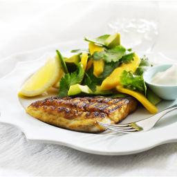 Spicy BBQ fish with mango salad