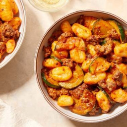 Spicy Beef & Gnocchi with Zucchini & Romano Cheese