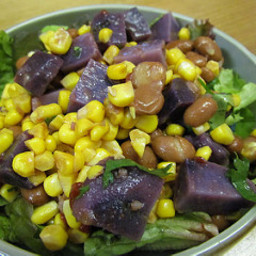 Spicy Blue Potato & Corn Salad