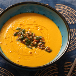 Spicy Carrot & Ginger Soup with Harissa