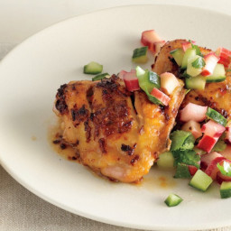 Spicy Chicken Thighs with Rhubarb-Cucumber Salsa