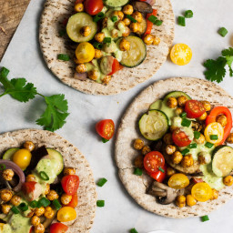 Spicy Chickpea and Roasted Veggie Pitas