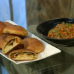 Spicy chorizo and cheese filled bread rolls with spiced baked beans