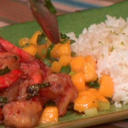 Spicy Coconut Shrimp with Spicy Mango Basil Salsa and Lime Jasmine Rice