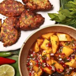 Spicy Corn Pakoras With Mango-Tamarind Chutney