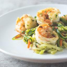 Spicy Garlic Shrimp Zoodles (Zucchini Noodles)