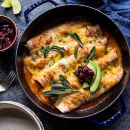 Spicy Green Chile Turkey, Butternut Squash and Crispy Sage Enchiladas