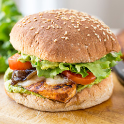 Spicy Guacamole Chicken Burger with Grilled Red Onions