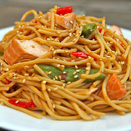 Spicy Hoisin-Glazed Salmon Spaghetti