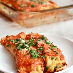 Spicy Italian Chicken Suasage, Spinach and Crepe Manicotti