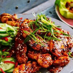 Spicy Korean chicken with cucumber salad