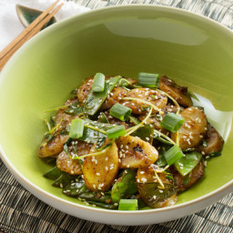 Spicy Korean Rice Cakes with Snow Peas and Pea Shoots