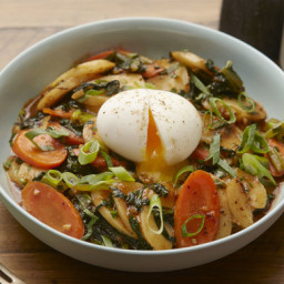 Spicy Korean Rice Cakeswith Yu Choy and Soft-Boiled Eggs