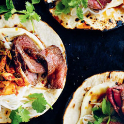 Spicy Korean Steak Tacos with Kimchi