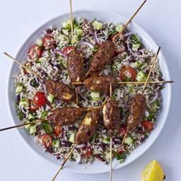 Spicy lamb and feta skewers with Greek brown rice salad