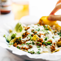 Spicy Lentil Nachos with Three Cheese Sauce