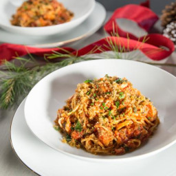 Spicy Lobster with Fettuccine and Anchovy Breadcrumbs