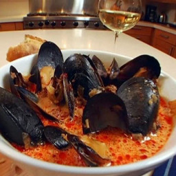 Spicy Mussels with Chorizo and Wine
