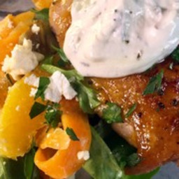 Spicy Orange Glazed Chicken Thighs with Shaved Carrot Salad