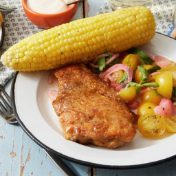 Spicy Pan-Fried Chickenwith Corn on the Cob and Tomato Salad