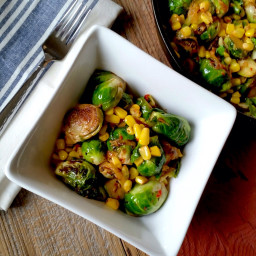 Spicy Pan-Seared Brussel Sprouts with Corn and Caramelized Onions