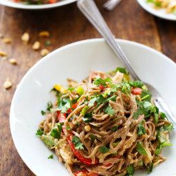 Spicy Peanut Chicken Soba Noodle Salad