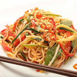 Spicy Peanut Noodle Salad With Cucumbers, Red Peppers, and Basil (Vegan) Re