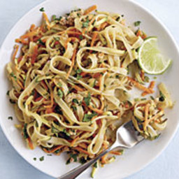 Spicy Peanut Noodles with Ground Pork and Shredded Vegetables